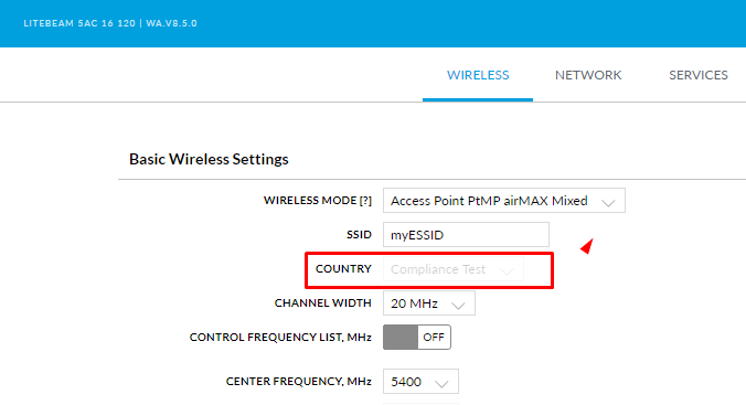 How to enable compliance test in ubiquiti ac radios